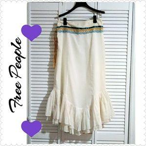 Free People White Cream Long Layered Skirt Sz